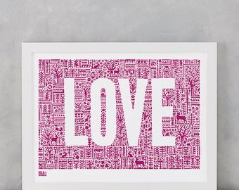 Love Letters Screen Print, Love Screen Print, Love Wall Poster, Typographic Screen Print, Illustration Screen Print, Pink Wall Poster