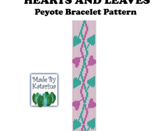Peyote Pattern - Hearts and Leaves - INSTANT DOWNLOAD PDF - Peyote Stitch Bracelet Pattern - One Drop Even Peyote Stitch - Beaded Bracelet