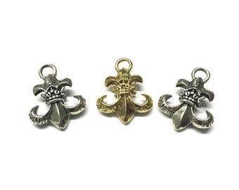 Fleur De Lis Charm, Fleur-De-Lis Pendant, Fleur-De-Lis Charm, Sterling Silver or Gold Plated over Sterling Silver Single Bail By Piece-1990P