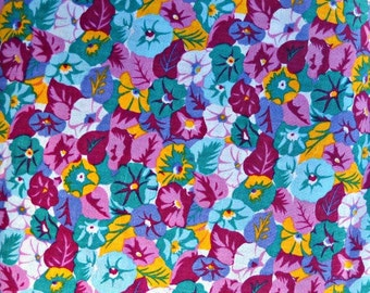 Purple Teal Flower Fabric, Polyester Rayon Linen Blend, Fabric by the Yard, Sewing Fabric