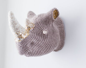 Handmade Faux Taxidermy -  Rhinoceros Head Wall Art - Home Decor - Paper Mache and Recycled Materials - Hand Beaded