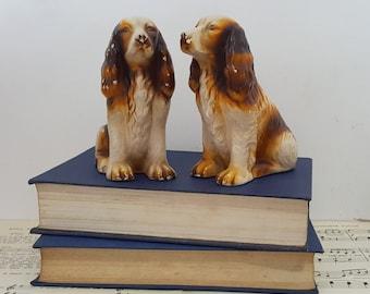 Vintage chalkware spaniels - plaster dog, chalkware dog, dog decor, vintage spaniel, vintage dog, spaniel gift, spaniels gift