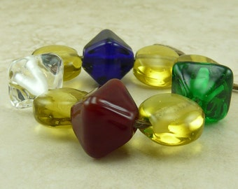 Gemstone Treasure Crystals and Coins- Lampwork Bead Set - SRA - I ship Internationally