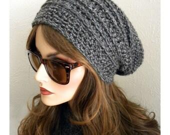 Gris Slouch Hat, chapeau d'hiver gris, bonnet mode, bohème Chic, chapeau au crochet, chapeau femme, accessoire femme, chapeau d'hiver