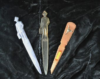Vintage Letter Openers Destash Value Bundle Set of 3 Souvenirs Plastic Fuller Brush Man Brass Estes Park Colorado 50s 60s Collectible