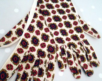 Vintage Paisley Gloves white patterned red brown