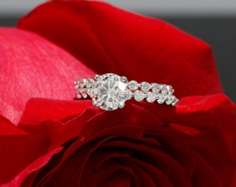 7.0mm Moissanite Engagement Set with Diamonds, Solitaire Ring with Forever Brilliant Moiss. (avail in rose, white, yellow gold and platinum)