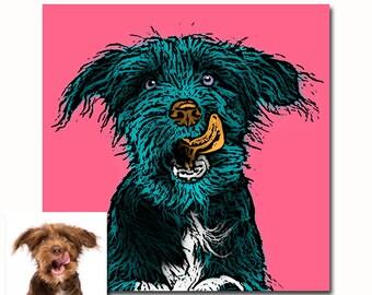 Custom pet portrait. dog portrait from your photos. Andy Warhol portrait. pop art your dog. customized pet portrait. digital print