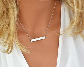 Sterling Silver Bar Necklace, Personalized Bar Necklace, Sterling Silver Initial Bar Necklace, Engraved Jewelry, 5x40