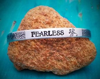 Fearless, Cuff Bracelet, Stacking Bracelets, Inspirational Bracelet, Personalized Cuff Bracelet, Mantra Bracelet, Boho Bracelet
