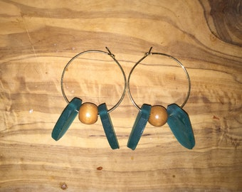 Sea Glass & Wood Gold Plated Hoops