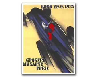 Race Car Poster Sports Decor Art Retro Decor Print (H52)