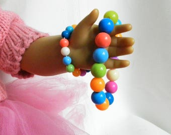 18 inch Doll & Me Jewelry Girl Bead Bracelet and American Doll Bracelet Mixed Color Beads Gift Accessories Set, Stocking Stuffer