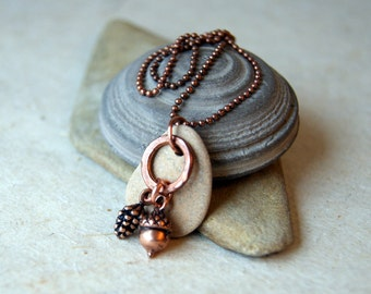 Woodland Necklace with Acorn, Pine Cone and River Stone