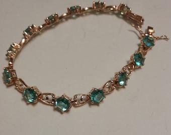 Gilded 925 Bracelet With Pale Blue Rhinestones