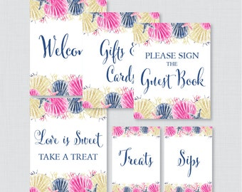 Nautical Bridal Shower Table Signs - Printable Pink and Navy Beach Themed Bridal Shower Decorations - Welcome Sign, Favors Sign, etc 0012-P