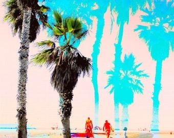 Palm Trees, surfers, beach, Santa Monica, California, sun, boardwalk, sunshine, sand, surf, pink, blue Fine Art Photograph Print Photography
