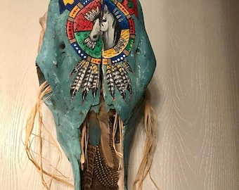 painted cow skull Medicine Wheel  with feathers, horse head