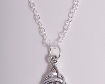 Silver celtic knot triquetra charm necklace sterling silver necklace pendant charm pagan wicca wiccan
