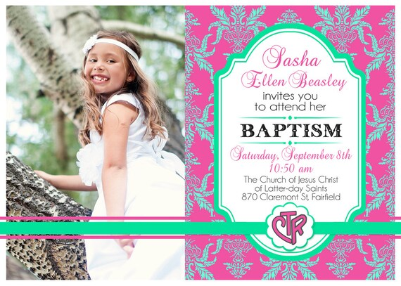 Invitación de bautismo para imprimir con foto LDS