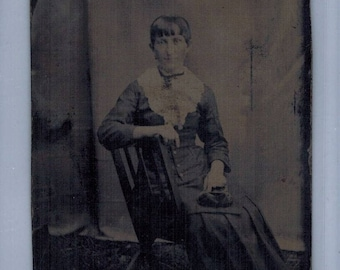 Antique Tintype Unidentified Sitting Lady Figural