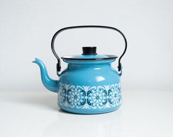 Vintage Blue Finel Enamel Teapot Punahilkka Kaj Franck 1960s