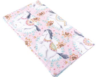 Checkbook Cover Wallet - Slim, Two Pocket Design Holds Cash And Checkbook - Whimsical Horse Fabric - Women's Stocking Stuffer