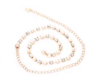 Waist Chain Charm Belt - For Ladies Girls Fashion -  Gold Pearl and Diamante Diamond