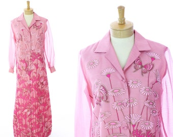 60s Formal Mod Dress Alfred Shaheen 1960s 70s Vintage Floral Butterflies With Sheer Overlay Hawaiian Hawaii Butterfly Medium M Large L