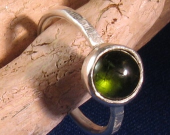 Chrome green tourmaline cabochon ring bezel set in sterling silver -Orb