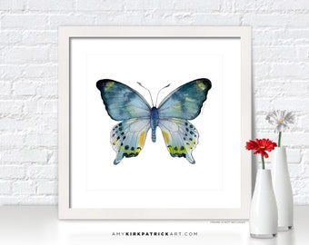 Blue Butterfly Painting, Butterfly Wall Art, Butterfly Print, Blue Butterfly Watercolor, Butterfly Greeting Cards, 68 Laglaizei Butterfly