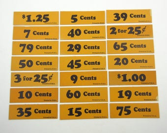 Vintage Orange and Black Store Price Tags Set of 21 Lot A