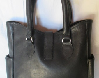 Leather Tote, Classic Design in Black Cowhide, Vintage Carry-All Made in USA, Medium Carrying Bag, Aston Leather, Mother's Day Gift for Her