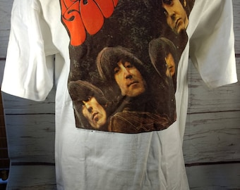 Vintage Beatles Rubber Soul White Cotton T-Shirt Large Gildan Famous-T Apple Corps 1990 Trevco