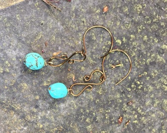 Faceted Turquoise Dangle Earrings    Southwestern Earrings   Cowgirl Earrings   Genuine Turquoise  Hand Shaped Wire Work Jewelry