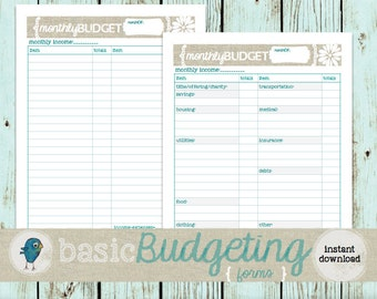 Budget Planner Forms: Instant Download, Printable Monthly Budget Worksheet for your Budget Binder