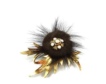 Fur Flower Brooch
