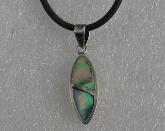 Jewelry Rescue Vintage Sterling Silver A Marquise Shape Abalone Inlay Pendant 30mm