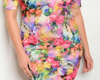 Plus Size Multi Color Art Dress