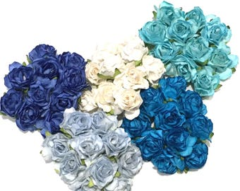 Bulk Buy Shades Of Blue Classic Mulberry Paper Roses Cr052