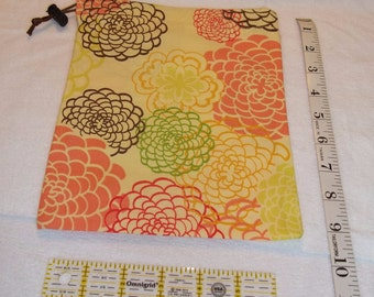 Yellow and Coral Floral Handmade Drawstring Bag