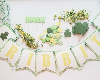 RIBBIT Theme Party Set, Frogs, Complete Party Set, Party Theme Kit, Party Decorations, Birthday Party Decor, Baby Shower Theme Ready to Ship