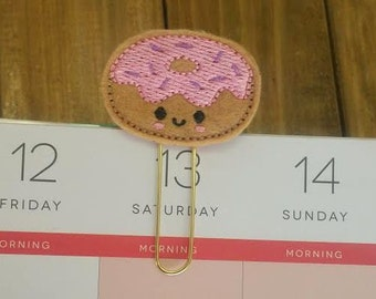 Kawaii Doughnut Planner Paper Clip!  Donut with Sprinkles Bookmark Gold Paperclip Planner Accessory Planner Supplies Calendar Clip Gift