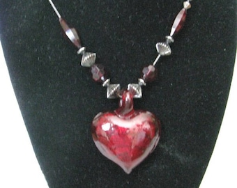Burgundy red heart & bead necklace on gunmetal gray chain