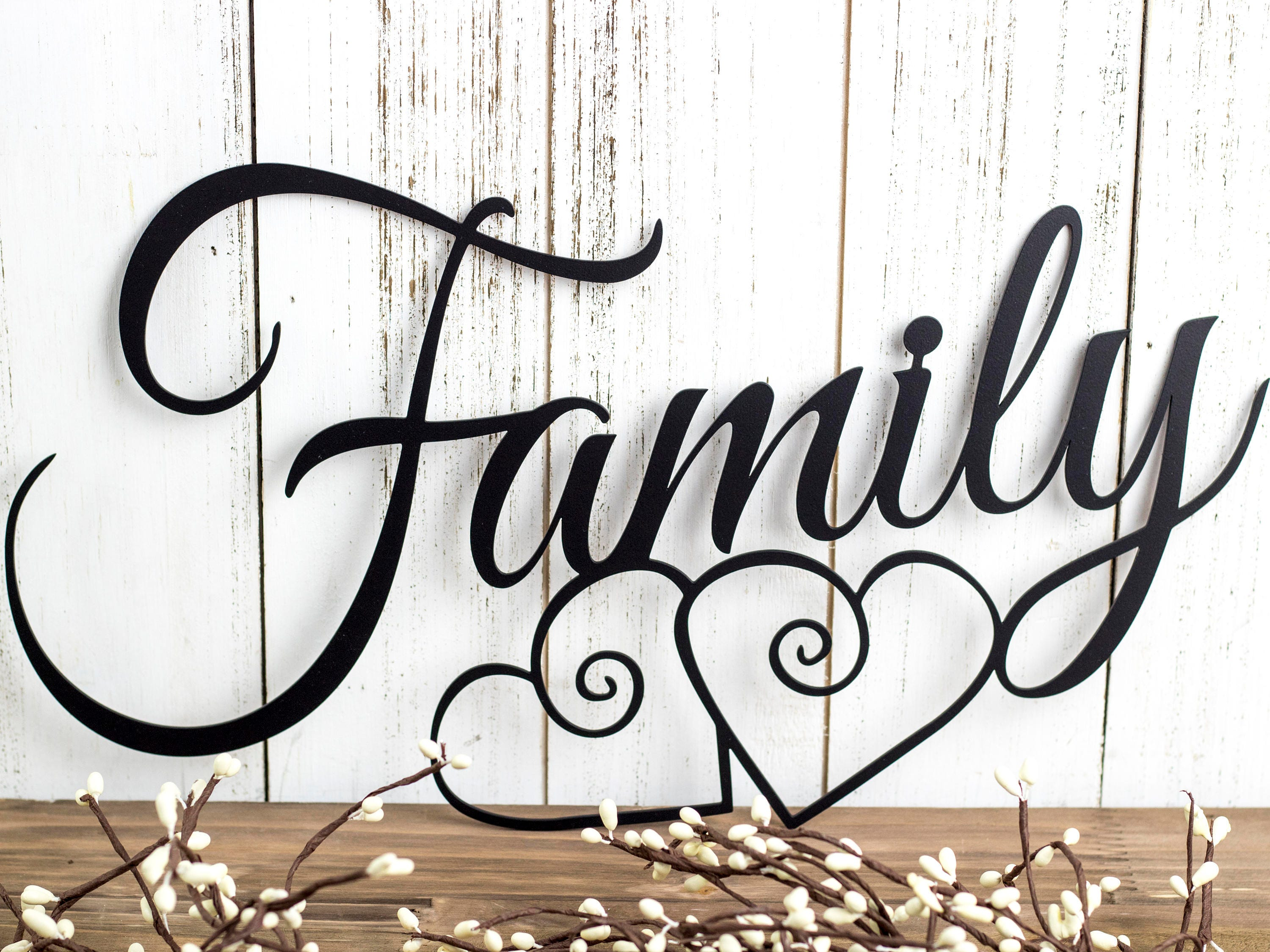 Family Word Home Decor Metal Wall Art ~ Family metal wall art hearts sign