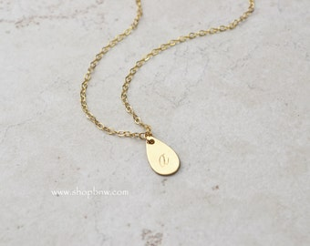 Delicate Initial Tag Necklace, Gold Necklace, Personalized Initial Necklace, bridal necklace, bridesmaid, mothers day gift