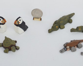 Hand Carved Wooden Noah's Ark Animals Turtles, Puffins, Alligators and Platypus
