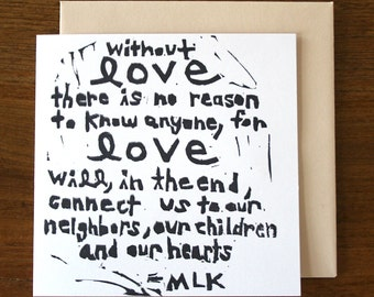 without love - notecard - hand printed - blank inside - greeting card