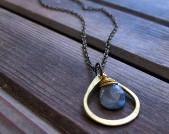 Sundrop - Labradorite Necklace - Semi Precious Stone and Brass Teardrop Necklace - Artisan Tangleweeds Jewelry