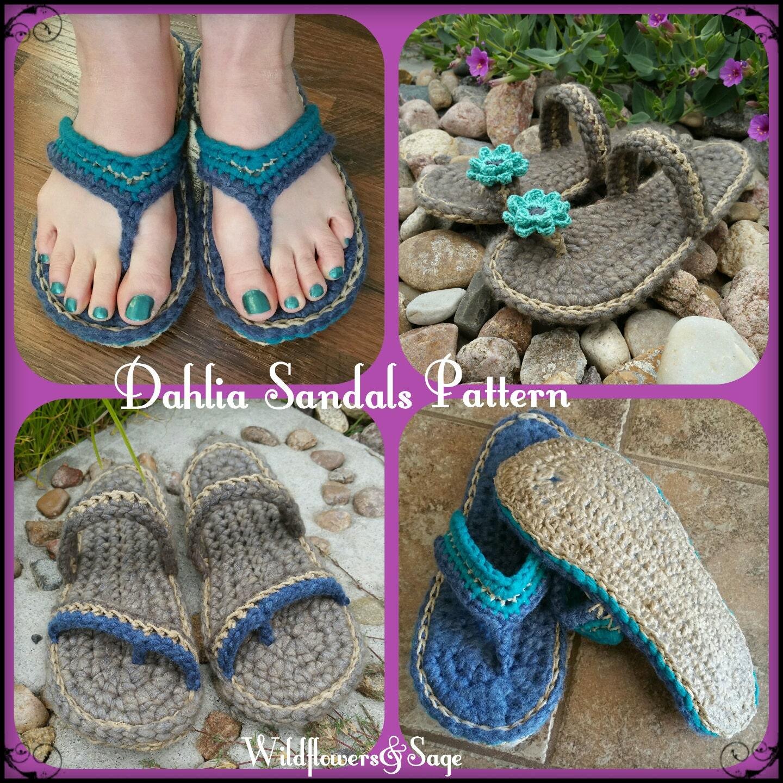 Crochet Sandals Pattern, Dahlia Sandals, flip flops, teen, women ...